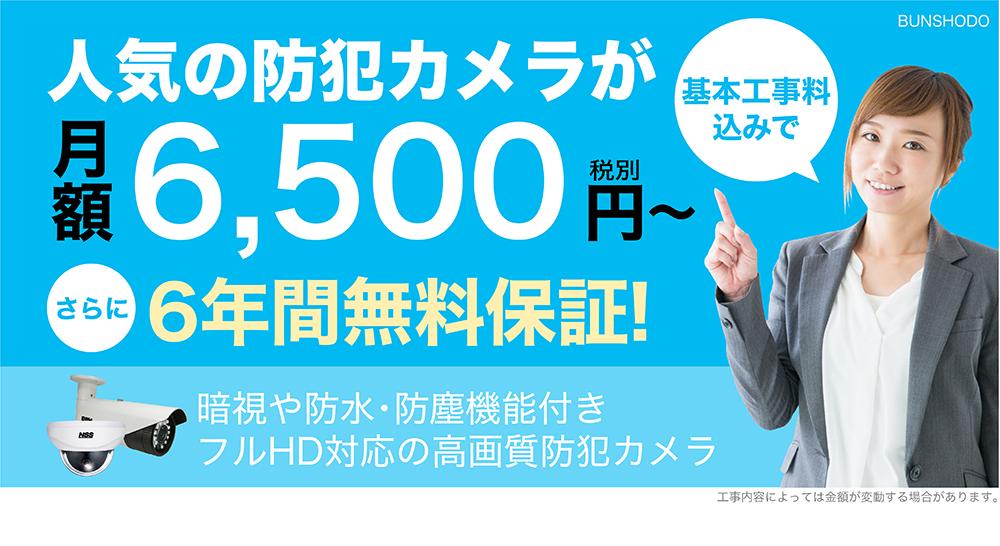 人気の防犯カメラが月額6,500円〜